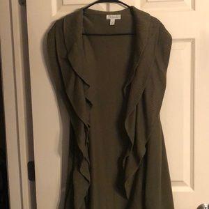 Green sleeveless ruffled cardigan